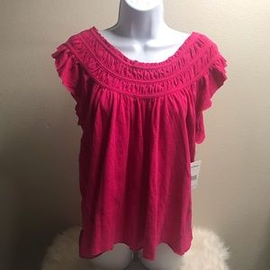 NWT Free People Pink Short Sleeve Top